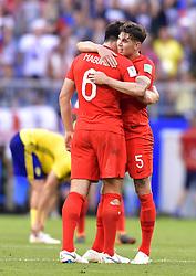 SAMARA, July 7, 2018  England's John Stones (R) hugs Harry Maguire after the 2018 FIFA World Cup quarter-final match between Sweden and England in Samara, Russia, July 7, 2018. England won 2-0 and advanced to the semi-finals. (Credit Image: © Chen Yichen/Xinhua via ZUMA Wire)
