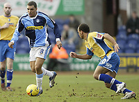 Photo: Aidan Ellis.<br /> Mansfield Town v Wycombe Wanderers. Coca Cola League 2. 24/02/2007.<br /> Wycombe's Scott Golbourne takes on Mansfield's Simon Brown