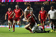 England's Full Back Mike Brown scoring his second try to take the score to Eng 28 - Fiji 11 during the Rugby World Cup Pool A match between England and Fiji at Twickenham, Richmond, United Kingdom on 18 September 2015. Photo by Matthew Redman.