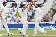 Jasprit Bumrah of India gets Joe Root of England during the 3rd International Test Match 2018 match between England and India at Trent Bridge, West Bridgford, United Kingdon on 21 August 2018.