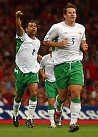 Photo. Daniel Hambury.<br /> 2006 FIFA World Cup Qualifier.  08/09/2004.<br /> <br /> Wales V Northern Ireland<br /> <br /> Northern Ireland's Jeff Whitley celebrates his goal