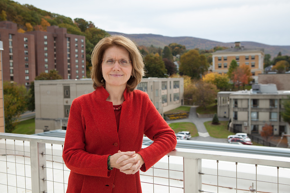 Mass College of Liberal Arts president Mary Grant is pictured at the Feigenbaum Center for Science and Innovation, in North Adams on Thursday, October 10, 2013. The long-struggling mill town of North Adams has been revitalized by an infusion of art and artists, encouraged by the state college there and city itself. As a result, hundreds of artists now call it home.  (Matthew Cavanaugh for The Boston Globe)