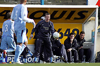 Photo: Paul Thomas.<br /> Preston North End v Manchester City. The FA Cup. 18/02/2007.<br /> <br /> Stuart Pearce, manager of Man City holds the ball out for his players.