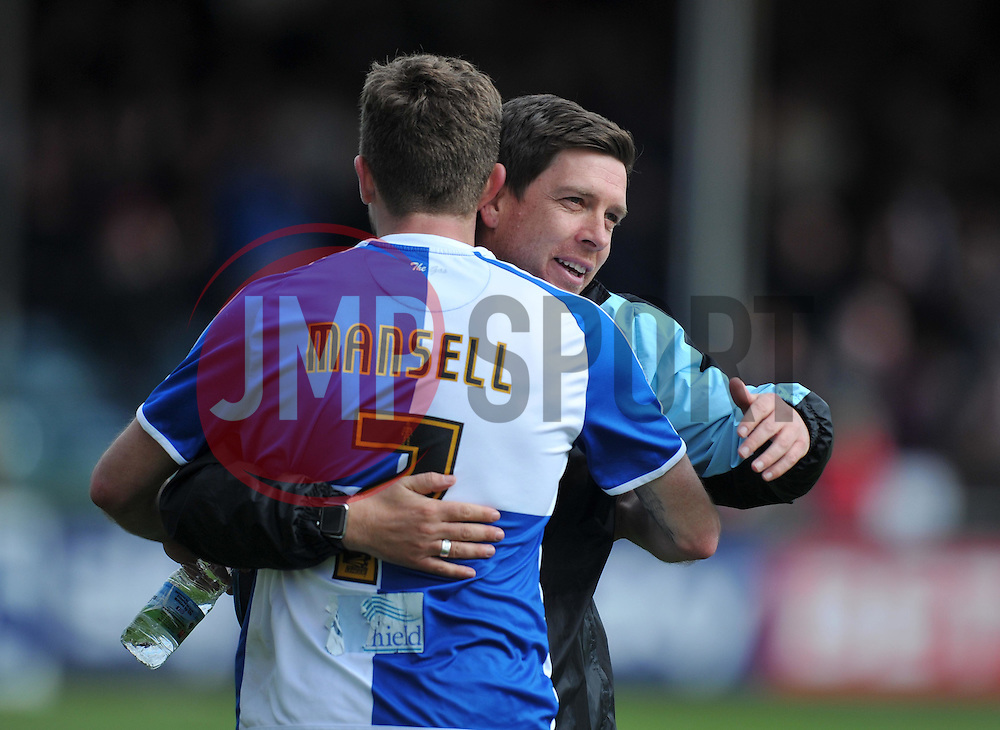 Bristol Rovers Manager Darrell Clarke celebrates with Lee Mansell - Mandatory by-line: Paul Knight/JMP - 23/04/2016 - FOOTBALL - Memorial Stadium - Bristol, England - Bristol Rovers v Exeter City - Sky Bet League Two