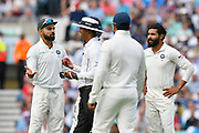 Virat Kohli (captain) of India not happy with the replacement ball during day 3 of the 5th test match of the International Test Match 2018 match between England and India at the Oval, London, United Kingdom on 9 September 2018.