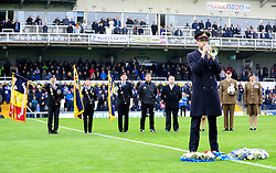 The Last Post is played for Rememebrance Day - Photo mandatory by-line: Neil Brookman/JMP - Mobile: 07966 386802 - 15/11/2014 - SPORT - Football - Bristol - Memorial Stadium - Bristol Rovers v Kidderminster - Vanarama Football Conference