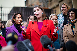 © Licensed to London News Pictures. 04/11/2019. London, UK. Leader of the Liberal Democrats Jo Swinson speaks to media about not being included in the televised leaders debate. A general election will be held on 12 December 2019. Photo credit : Tom Nicholson/LNP
