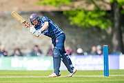Scotland's Matthew Cross plays a shot during the One Day International match between Scotland and Afghanistan at The Grange Cricket Club, Edinburgh, Scotland on 10 May 2019.