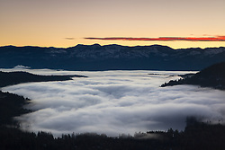 """Foggy Donner Lake Sunrise 1"" - This low lying fog was photographed at sunrise over Donner Lake in Truckee, California."
