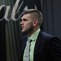 Jun 14, 2012; Oklahoma City, OK, USA; Oklahoma City Thunder center Cole Aldrich arrives before game two in the 2012 NBA Finals at Chesapeake Energy Arena. Mandatory Credit: Derick E. Hingle-US PRESSWIRE