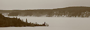 This is a sepia-tone panoramic image that I created from a Munising cliff side view of Grand Island and the old East Channel Light. This can be a desolate place in the heart of winter.