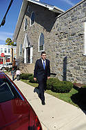 10/17/10 12:33:46 PM -- Darby, PA<br />  -- Democratic Congressional candidate Bryan Lentz campaigns October 17, 2010 at a First Baptist Church in Darby, Pennsylvania. Bryan Lentz  faces Republican Pat Meehan  in the Nov. 2 general election.   --  Photo by William Thomas Cain/Cain Images