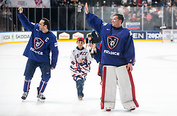 Laurent Meunier of France  and Cristobal Huet of France retiring of their career after the 2017 IIHF Men's World Championship group B Ice hockey match between National Teams of France and Slovenia, on May 15, 2017 in AccorHotels Arena in Paris, France. Photo by Vid Ponikvar / Sportida