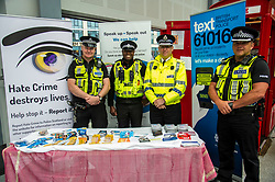 Pictured: John McLean and Prince  Durant, British Transport Police, Superintendent Richard Horan, Police Scotland, and Inspector Dougie Brownlee, British Transport Police<br /> Humza Yousaf, MSP, minister for Transport and the Islands joined the Edinburgh Community Safety Partnership as they officially launched Edinburgh's Transport Charter aimed at eradicating hate crime on all forms of transport in the city. Each of the organisations involved with the partnership will outline their approach to responding to incidents.  The launch will be followed by two days of action where representatives will be in transport hubs, promoting an understanding of hate crime, raising awareness of the charter and how to report unacceptable behaviours. Charter Representatives: Transport and Environment Convener, Lesley Macinnes, Alex Hynes from the Scotrail Alliance, Michael Powell from Edinburgh Trams, Jason Hackett from First Buses, Superintendent Richard Horan from Police Scotland, Chief Inspector Sue Maxwell from British Transport Police and Transport Scotland. Allister McKillop Vice Chair of Equality Transport Advisory Group (ETAG) and representatives from the Access Panel, Hollaback, SCOREScotland, NKS, Edinburgh Women's Interfaith Group and SESTran along with students from Currie High School<br /> <br /> Ger Harley | EEm 27 June  2017