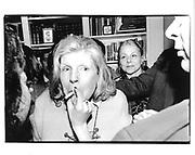 Brigid Berlin. Opening at Stubbs. NY. 12 March 1996. © Copyright Photograph by Dafydd Jones 66 Stockwell Park Rd. London SW9 0DA Tel 020 7733 0108 www.dafjones.com