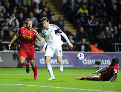 Swansea City's Michu is denied by a last gasp tackle by Liverpool's Mamadou Sakho - Photo mandatory by-line: Joe Meredith/JMP - Tel: Mobile: 07966 386802 16/09/2013 - SPORT - FOOTBALL -  Liberty Stadium - Swansea - Swansea City V Liverpool - Barclays Premier League