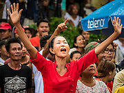 09 NOVEMBER 2015 - YANGON, MYANMAR: People gather at NLD headquaters Monday. Thousands of National League for Democracy (NLD) supporters gathered at NLD headquarters on Shwegondaing Road in central Yangon to celebrate their apparent landslide victory in Myanmar's national elections that took place Sunday. The announcement of official results was delayed repeatedly Monday, but early reports are that the NLD did very well against the incumbent USDP.     PHOTO BY JACK KURTZ