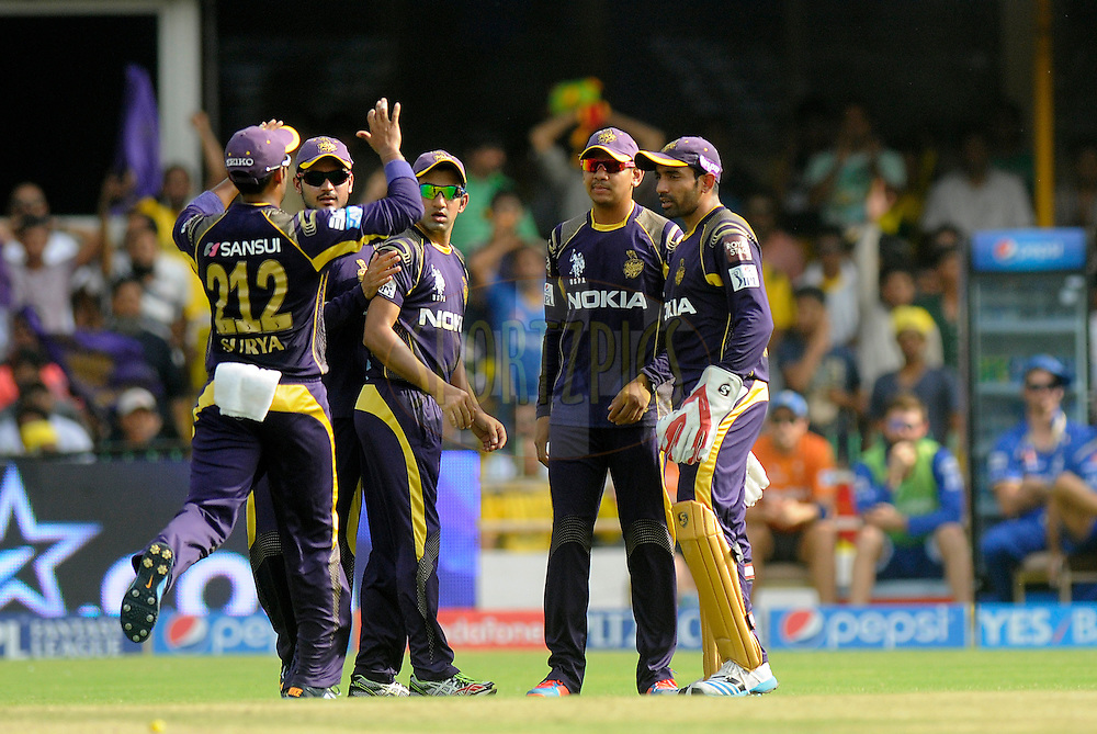 Sunil Narine of the Kolkata Knight Riders celebrates after getting Ajinkya Rahane of the Rajatshan Royals run out during match 25 of the Pepsi Indian Premier League Season 2014 between the Rajasthan Royals and the Kolkata Knight Riders held at the Sardar Patel Stadium, Ahmedabad, India on the 5th May  2014<br /> <br /> Photo by Pal Pillai / IPL / SPORTZPICS      <br /> <br /> <br /> <br /> Image use subject to terms and conditions which can be found here:  http://sportzpics.photoshelter.com/gallery/Pepsi-IPL-Image-terms-and-conditions/G00004VW1IVJ.gB0/C0000TScjhBM6ikg