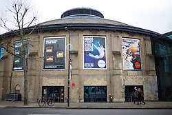 © licensed to London News Pictures. London, UK 18/01/2014. Roundhouse in Camden is photographed on Saturday, January 18, 2014 after three people were injured when part of the set collapsed on to members of the audience during an acrobatic show at a north London venue on Friday night, 17 January 2014. Photo credit: Tolga Akmen/LNP