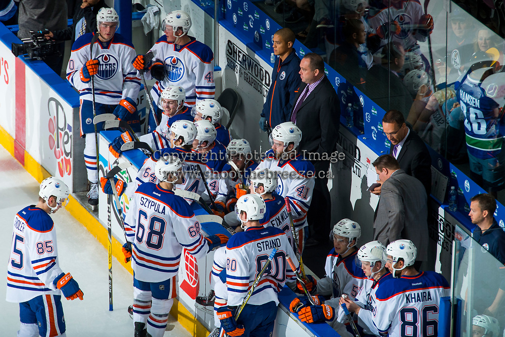 PENTICTON, CANADA - SEPTEMBER 9: The # of Edmonton Oilers bench on September 9, 2017 at the South Okanagan Event Centre in Penticton, British Columbia, Canada.  (Photo by Marissa Baecker/Shoot the Breeze)  *** Local Caption ***