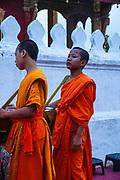Monks and tourists particate in sai bat (morning alms giving), Wat Sesnsoukharam, Sakkaline Road, Luang Prabang, Laos.