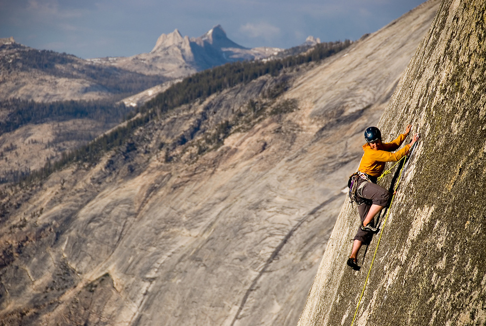 Madaleine Sorkin<br /> sending the final slab pitch, 5.12, on a free ascent of Half Dome, Yosemite, CA
