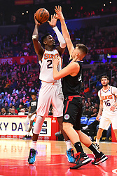 February 13, 2019 - Los Angeles, CA, U.S. - LOS ANGELES, CA - FEBRUARY 13: Phoenix Suns Center DeAndre Ayton (22) shoots over Los Angeles Clippers Center Ivica Zubac (40) during a NBA game between the Phoenix Suns and the Los Angeles Clippers on February 13, 2019 at STAPLES Center in Los Angeles, CA. (Photo by Brian Rothmuller/Icon Sportswire) (Credit Image: © Brian Rothmuller/Icon SMI via ZUMA Press)