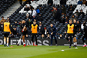 Fulham players warm up before kick off during the EFL Sky Bet Championship match between Fulham and Barnsley at Craven Cottage, London, England on 23 December 2017. Photo by Andy Walter.