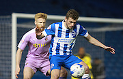 Brighton striker James Wilson shields the ball from Reading defender Paul McShane during the Sky Bet Championship match between Brighton and Hove Albion and Reading at the American Express Community Stadium, Brighton and Hove, England on 15 March 2016. Photo by Bennett Dean.