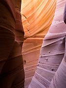 "View of the sidewall of Zebra Slot Canyon, along Harris Wash, Grand Staircase-Escalante National Monument, near Escalante, Utah. Note the ""moqui marble"" inclusion on the wall."