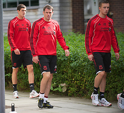LIVERPOOL, ENGLAND - Wednesday, August 18, 2010: Liverpool's defenders Martin Kelly, Jamie Carragher and Danny Wilson during a training session at Melwood ahead of the UEFA Europa League Play-Off 1st Leg match against Trabzonspor A.S. (Pic by: David Rawcliffe/Propaganda)