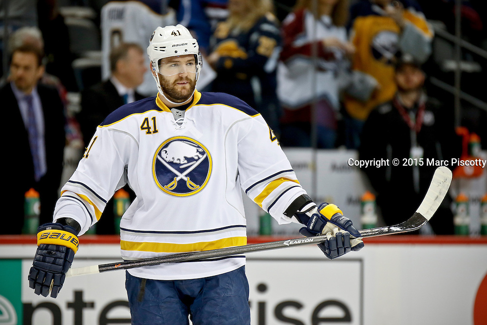 SHOT 3/28/15 6:41:38 PM - The Buffalo Sabres' Andrej Meszaros #41 during pregame warmups before their game against the Colorado Avalanche at the Pepsi Center in Denver, Co. The Avalanche won the game 5-3. (Photo by Marc Piscotty / © 2015)