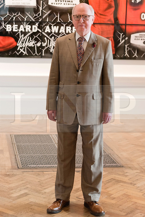 © Licensed to London News Pictures. 07/06/2016. Artist GEORGE PASSMORE better know as GILBERT AND GEORGE unveil their new work titled Beard Aware for the Royal Academy Summer Exhibition.  The Summer Exhibition marking its 248th year, is the world's largest open submission exhibition, held every year without interruption since 1769, and continues to play a significant part in raising funds to finance the current students of the RA Schools.  London, UK. Photo credit: Ray Tang/LNP