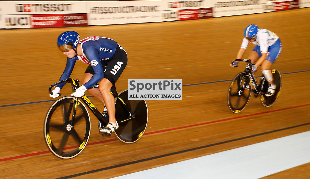 UCI Track Cycling World Cup Glasgow 4th - 6th November 2016. Mandy Marquardt and Gloria Manzoni, in the qualifying session for Women's sprint .....(c) STEPHEN LAWSON   SportPix.org.uk