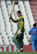 PRETORIA, South Africa, 11 December 2013. Quinton de Kock of South Africa celebrating his 3rd consecutive 100 during the 3rd ODI Cricket match between South Africa and India at Super Sport Park in Centurion Pretoria, South Africa on Wednesday 11 December 2013.<br /> Photographer : Anton de Villiers / SASPA