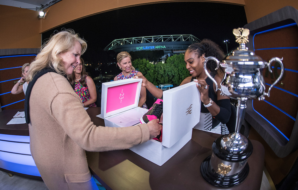 Serena Williams of the United States doing tv interviews after winning the women's final on day thirteen of the 2017 Australian Open at Melbourne Park on January 28, 2017 in Melbourne, Australia.<br /> (Ben Solomon/Tennis Australia)