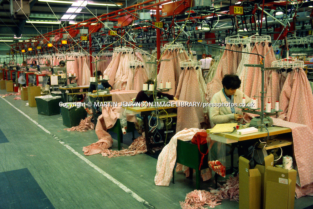 Production line sewing in a textile factory....