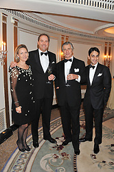 Left to right, CARLA BAMBERGER, the HON.HARRY HERBERT, MR ARNAUD BAMBERGER Executive Chairman Cartier UK and MR FRANCOIS LE TROQUER Managing Director Cartier UK at the 22nd Cartier Racing Awards held at The Dorchester, Park Lane, London on 13th November 2012.