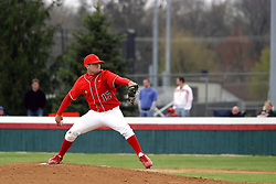 15 February 2007: Winning pitcher Mike Hlavacek delivers a pitch. Indiana State Sycamores gave up the first game of the double-header by a score of 16-6 to the Illinois State Redbirds at Redbird Field on the campus of Illinois State University in Normal Illinois.