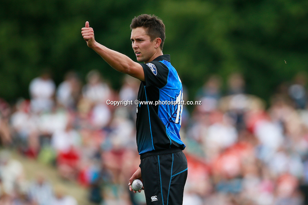 Trent Boult of the Black Caps during the first ODI between the Black Caps v Sri Lanka at Hagley Oval, Christchurch. 11 January 2015 Photo: Joseph Johnson / www.photosport.co.nz
