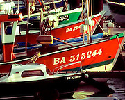 Colorful fishing boats in the harbour at Saint-Jean-de-Luz on the Côte Basque region near Biarritz, France