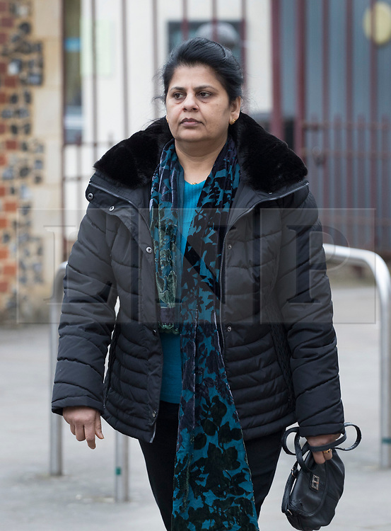 © Licensed to London News Pictures. 22/02/2018. Reading, UK. Ancy Joseph, wife of victim Cyriac Joseph, arrives at Reading Crown Court for the trial of drivers involved in a crash that killed eight people on the M1 in August 2017. Ryszard Masierak charged with causing eight deaths by dangerous driving and being over the drink-driving limit after six men and two women were killed in a collision on the M1 at Newport Pagnell when the minibus they were travelling in was almost flattened in a crash. Masierak and another driver David Wagstaff face 12 charges in total - eight counts each of causing death by dangerous driving and four counts each of causing serious injury by dangerous driving. Photo credit: Peter Macdiarmid/LNP