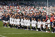 Picture by Andrew Tobin/Focus Images Ltd +44 7710 761829.26/05/2013.England line up for the National Anthem with their mascots before the match between England and the Barbarians at Twickenham Stadium, Twickenham.