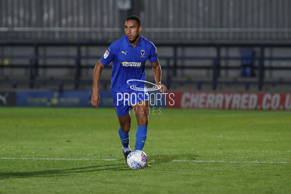 AFC Wimbledon defender Terell Thomas (6) dribbling during the Leasing.com EFL Trophy match between AFC Wimbledon and Leyton Orient at the Cherry Red Records Stadium, Kingston, England on 8 October 2019.