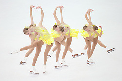 A multiple exposure picture of Polina Edmunds of USA performs in the Figure Skating Ladies Short Program at Iceberg Skating Palace during the Sochi 2014 Olympic Games, Sochi, Russia, 19 February 2014.