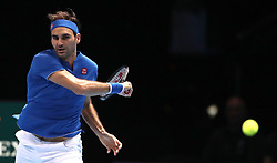 Roger Federer during the men's singles match on day five of the Nitto ATP Finals at The O2 Arena, London.