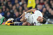 Paris Saint Germain attacker Angel Di Maria (11) going down after a foul during the Champions League match between Chelsea and Paris Saint-Germain at Stamford Bridge, London, England on 9 March 2016. Photo by Matthew Redman.