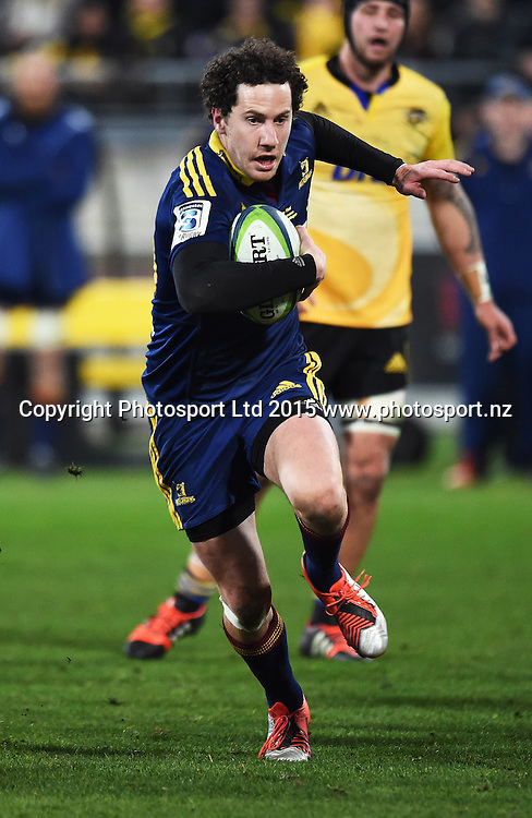 Marty Banks makes a break during the Super Rugby Final between the Hurricanes and Highlanders at Westpac Stadium in Wellington., New Zealand. Saturday 4 July 2015. Copyright Photo: Andrew Cornaga / www.Photosport.nz