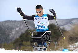 China's Congiun Xu competes in the Men's 7.5km, Sitting Cross Country Skiing at the Alpensia Biathlon Centre during day eight of the PyeongChang 2018 Winter Paralympics in South Korea