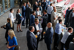 Lansdown Club Members are given a preview of the Heineken Lounge and other facilities in the newly built South Stand - Mandatory byline: Rogan Thomson/JMP - 07966 386802 - 13/08/2015 - SPORT - Ashton Gate Stadium - Bristol, England - Bristol Sport Lansdown Club Networking Event.